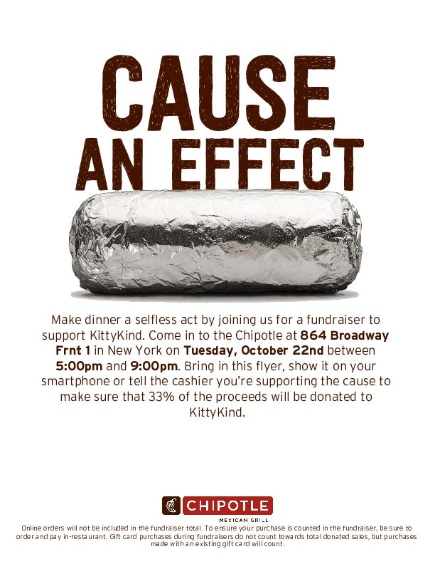 Support KittyKind on October 22nd, 2019 by eating at Chipotle