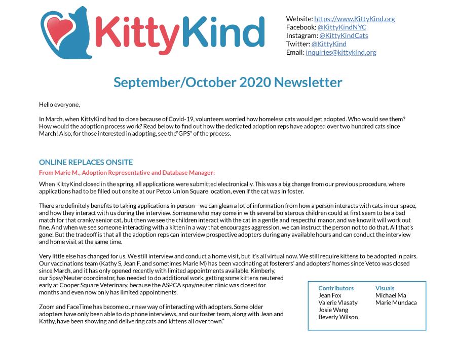 KittyKind September/October 2020